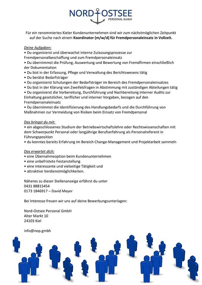 Koordinator (m/w/d) für Fremdpersonaleinsatz in Vollzeit