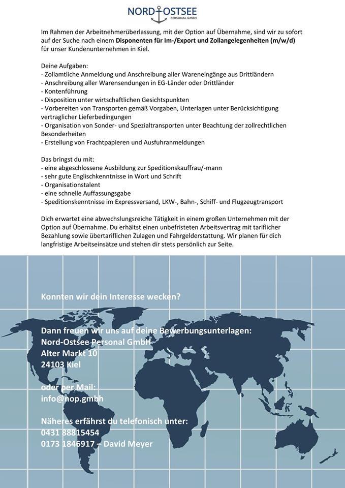 Disponent (m/w/d) für Im-/Export, Zollangelegenheiten